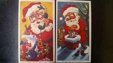 Set of 2 Oversize Novelty Santa on Telephone & Climbing Chimney Googly Eye L711