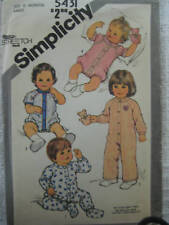 VTG Simplicity Toddler JUMPSUIT SLEEPER Sewing Pattern 5431 Sz 12 mo