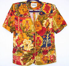 RICKIE FREEMAN TERI JON Womens Southwestern Floral Linen Blazer Jacket Coat 4 S