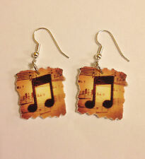 Music Note Earrings Music Sheet Charms