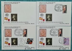 1988 MALTA Postal cards - Spanish - Maltese Philatelic Exhibition -low numbered