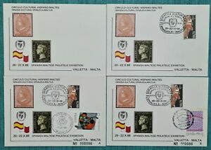 1988 MALTA Postal cards - Spanish - Maltese Philatelic Exhibition -low numbered