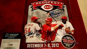 JOEY VOTTO,BRANDON PHILLIPS, & AROLDIS CHAPMAN Signed Redsfest Program-SGC Auth.