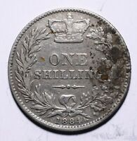 1884 UK One 1 Shilling - Victoria Young Head - Lot