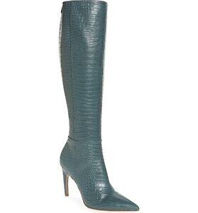 Sam Edelman Fraya Women Knee High Boot Size US 7.5M Grey Iris Croc Print Leather