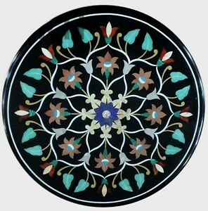 18 Inches Marble Coffee Table Inlay Bed Corner Table Top with Multi Stone Work