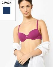 NEW 2 PACK 34 A BALCONY T-SHIRT BRAS MARKS & SPENCER PURPLE NAVY UNDERWIRED