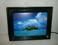 """Vintage Moving Picture Lamp W Sound Island & Palm Tree Nature Scene 9"""" x 12"""" NEW"""