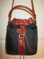 *MINT* OROTON AUSTRALIA VINTAGE BLACK CANVAS / LEATHER DRAWSTRING BUCKET BAG