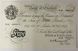 Bank of England White Five Pound Note, £5, E42 099617  dated 20th October 1944