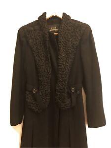 Black 1940s Wool Persian lamb Princess coat XS-S