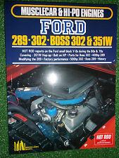 HOT ROD on Musclecar & Hi-Po Ford 289 302 + Boss 351W ENGINES tune modify manual