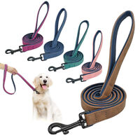 4ft Velvet Leather Dog Lead Dog Walking Training Lead With Soft Padded Handle