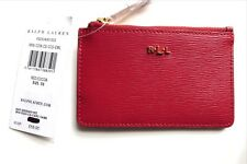 RALPH LAUREN Red Leather CARD & ID & KEY HOLDER Brand New Wallet Womens NEW