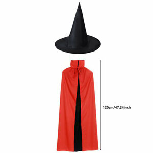 Halloween Cloak Vampire Dracula Devil Cape w/ Hat Costume Fancy Dress Adult Kid
