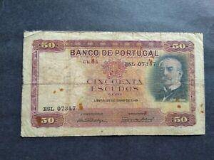 PORTUGAL 50 ESCUDOS 1949 BANKNOTE