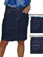 Stretch Denim Above Knee Jeans Skirt Indigo Blue 8-20