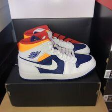 Nike Air Jordan Retro 1 Mid Deep Royal Blue Laser Orange 554724-131 Men & GS