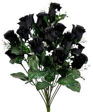 14 Black Roses Buds Silk Wedding Flowers Bouquet Artificial Halloween Fake Faux