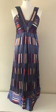 Topshop Women's 100% Silk Strappy Maxi Dress, Multi Coloured Blue Stripes UK 10