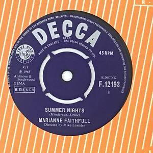 MARIANNE FAITHFUL Summer Nights Ex+ 1965 UK Decca Beat 7""