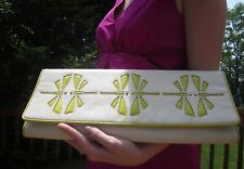 Kate Spade Bryndis Dragonfly Oversized Leather Cream/Chartreuse Green Clutch