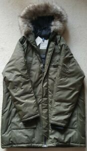 H&M Mens Divided Parka Coat With Faux Fur Hood
