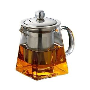 Heat Resistant Glass Teapot & Stainless Steel Infuser Heated Container Tea Pot