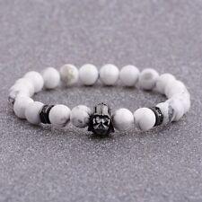 Fashion Men Exquisite Zircon Star Wars Darth Vader Bracelets White Howlite Stone
