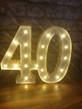 "40th Birthday Light Up Sign birthday decoration 11.5"" high"