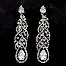 Rhodium Plated Clear Crystal Rhinestone Wedding Drop Dangle Earrings 00368 Prom