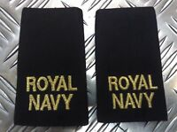 Genuine Pair of British Royal Navy RN Black Rank Slides / Epaulettes