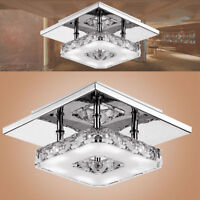Cristal LED lumière plafond rond lustre lampe moderne pendentif salon maison