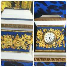 VERSACE CLOCK Floralia Blue ROSENTHAL DESK OFFICE BEST GIFT IDEA RETAIL $350