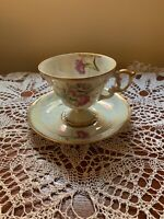 Vintage Lusterware January Carnation Floral Porcelain Tea Cup And Saucer Gilded