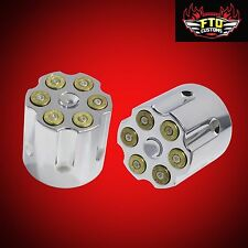 Chrome With Bullets Front Axle Nut Covers  Harley Davidson Touring 2008-2017