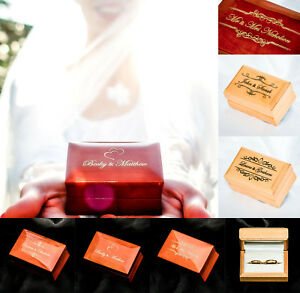 Wedding Double Ring Bearer Box Mr and Mrs Wooden Ceremony Date Surname Gold text