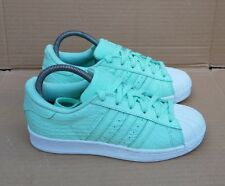 ADIDAS SUPERSTAR TRAINERS SIZE 4.5 UK MINT GREEN REPTILE SKIN IMMACULATE BOXED