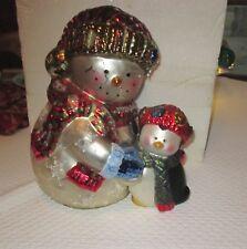 Vintage American Greetings Mercury Glass Snowman & Penguin Display Item