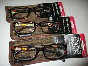NEW!! 3 PAIRS OF FOSTER GRANT MENS BROWN READING GLASSES W/CASE +2.75 BOSTON