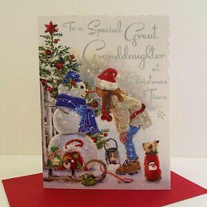 Jonny Javelin Special Great Granddaughter Christmas Time Card Girl Snowman/XV083