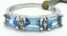 GENUINE 1.62 Carats AQUAMARINE & DIAMONDS RING 14K WHITE GOLD * New with Tag *