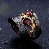 Natural Rhodolite Garnet Solid 925 Sterling Silver Handmade Branch Women Ring