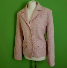Gharani Strok Womens Blazer UK 16 Pink Floral Fitted Cotton Jacket