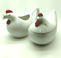 Vintage Porcelain Hen Chicken Sugar Bowl /Creamer White w Gold Details Red Comb