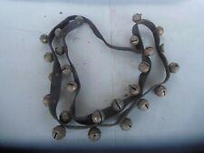 Vintage Original Horse Drawn Brass Sleigh Bells on a Black Leather Strap