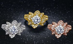 18K White Gold Plated Cubic Zirconia Flower Ring Made With Swarovski Elements
