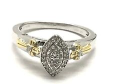Sterling Silver Two Tone Diamond Cluster Marquise - Cross Petite Cocktail Ring 6