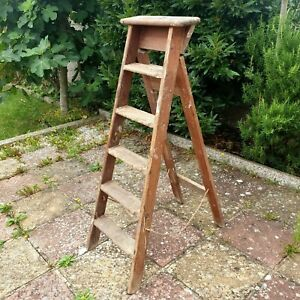 Large Vintage Rustic 6ft Wooden Step Ladder Display Prop Home Decor Shabby Chic