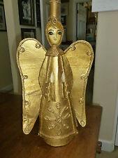 Vintage De Sela Paper Mache Angel Figurine - Gold - Candleholder - Folk Art